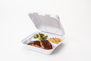 Compostable Medium Hinged 3 Compartment Container