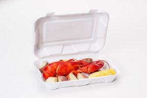 hinged food container with lobster