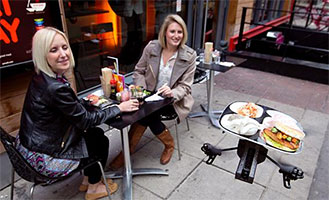 drone food delivery, tableside