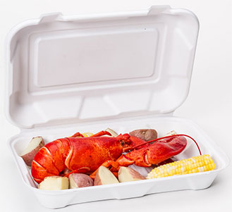 to go container with seafood