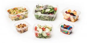 hinged food containers with a variety of food enclosed