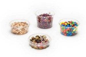 2 piece supermarket containers with a variety of food enclosed