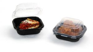 hinged, clear top food containers