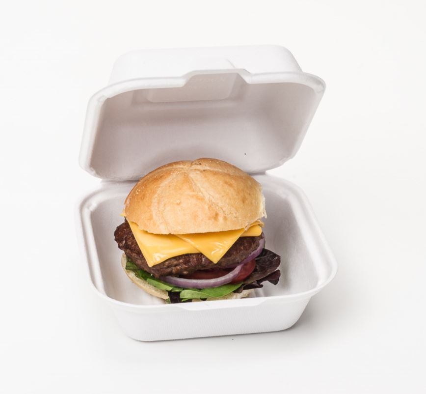 HF225 white hinged food container with hamburger inside
