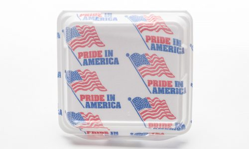 Pride in America branded foam container